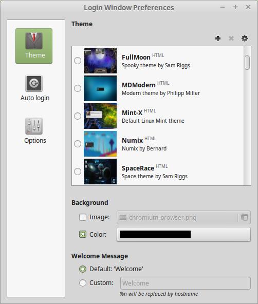 Il nuovo layout della finestra di personalizzazione della login screen
