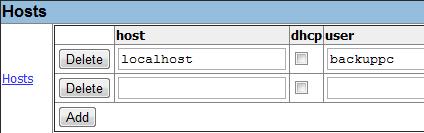 Aggiunta degli host dal pannello di BackupPC
