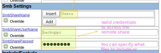 Parametri di configurazione per un host Windows
