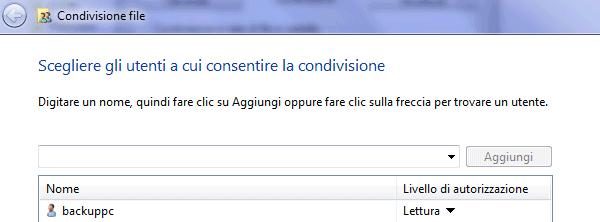 Impostazioni di condivisione su un host Windows