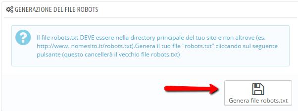Generazione del file robots.txt