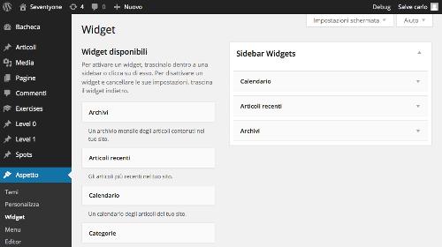 Assegnazione dei widget alla sidebar