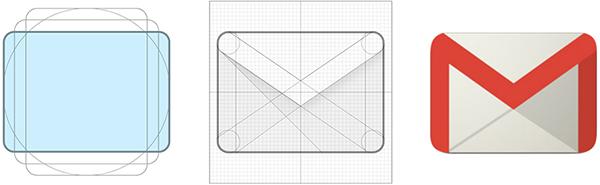 Schema e realizzazione dell'icona di GMail