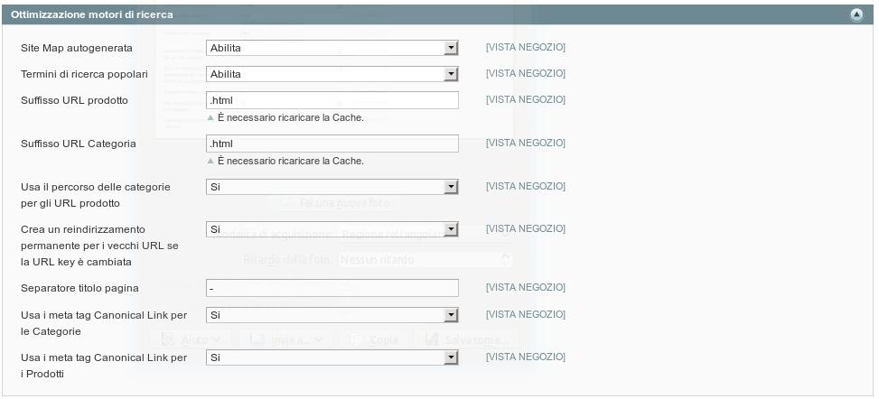 Scheda di configurazione Ottimizzazione motori di ricerca