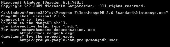 Messaggio di benvenuto mostrato dal client mongodb