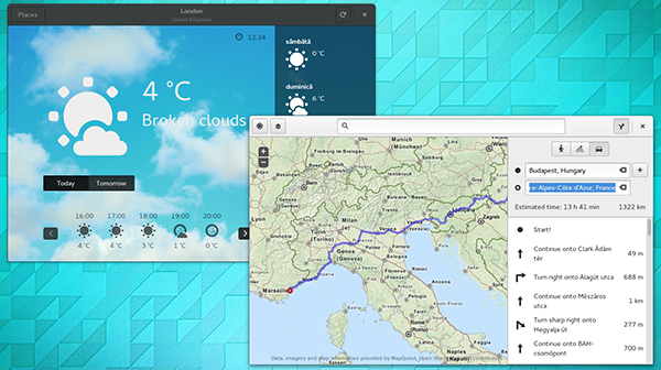 Il desktop di Ubuntu GNOME 15.04, con le app Weather e Maps in evidenza