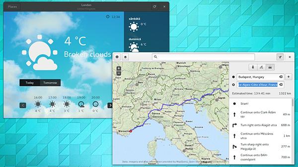 Il desktop di Ubuntu GNOME 15.04, con le app Weather e Maps in evidenza