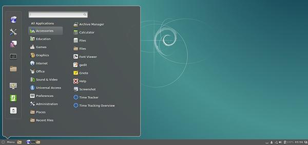 Il desktop di Cinnamon su Debian 8