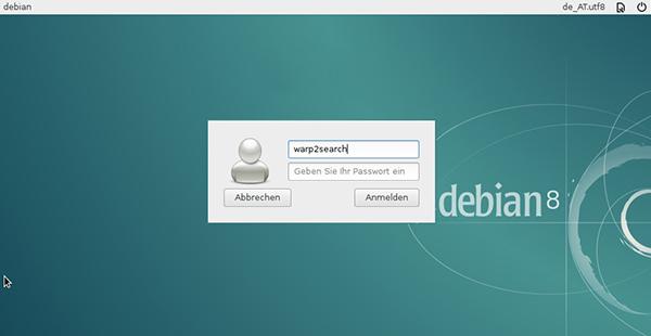 La schermata di login di Debian 8 Xfce