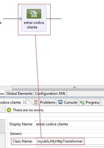 Il componente Java per l'estrazione si codiceCliente