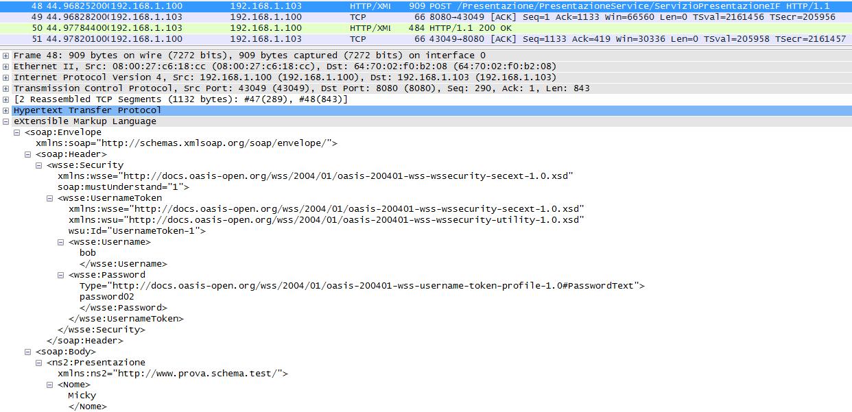 invocazione del Web service con l'header wsse:Security
