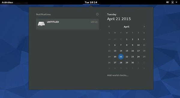 Sistema di notifiche e calendario su Fedora 22 Workstation