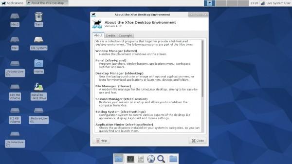 Il desktop di Fedora 22 Xfce Spin