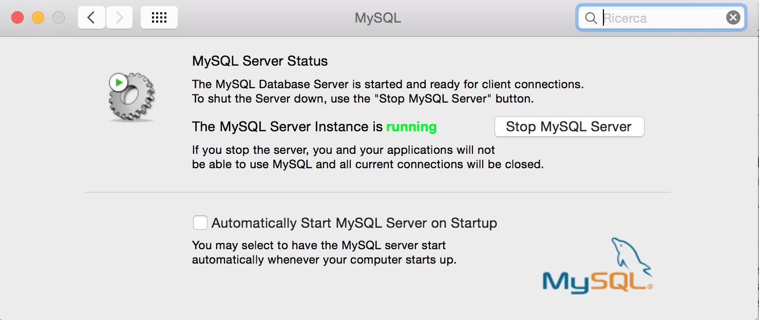 Abilitare il servizio MySQL