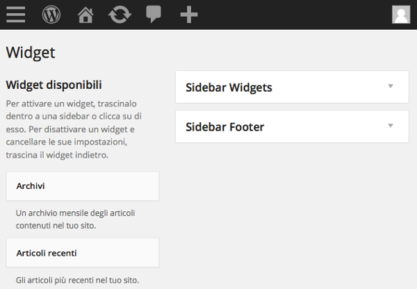 Sidebar di WordPress