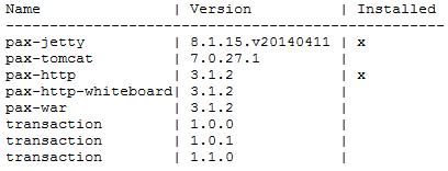 Output del comando feature:list