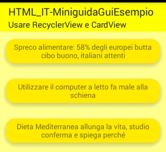 RecyclerView e CardView