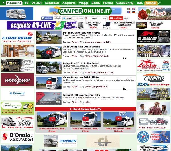 Interfaccia CamperOnline