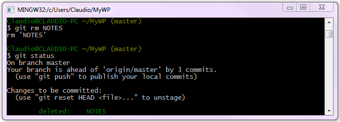 Cancellazione di un file con Git