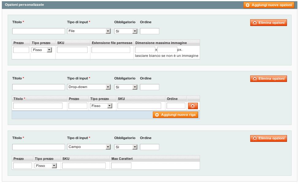 Scheda con esempi di Opzioni personalizzate  di un prodotto