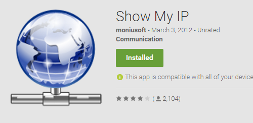 Show My IP sul Google Play Store