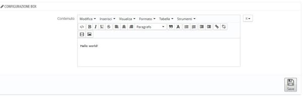 Schermata di configurazione modulo sample