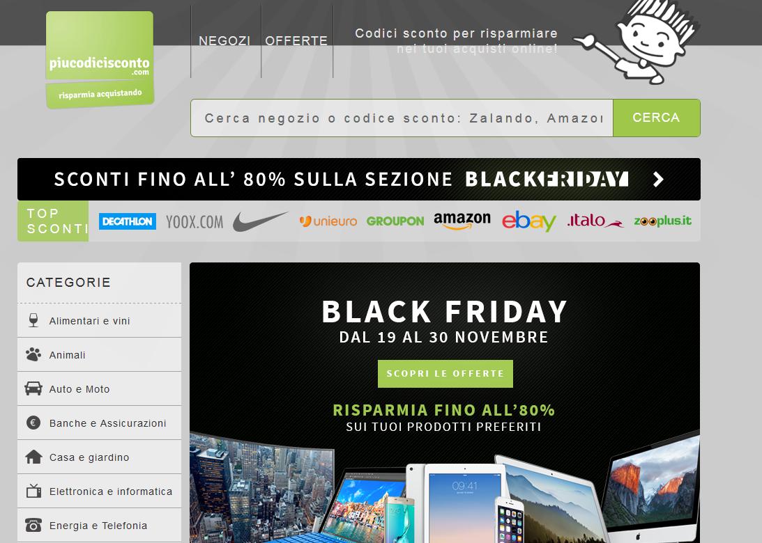 Piucodicisconto.com: buoni sconto e offerte su oltre 800 store online