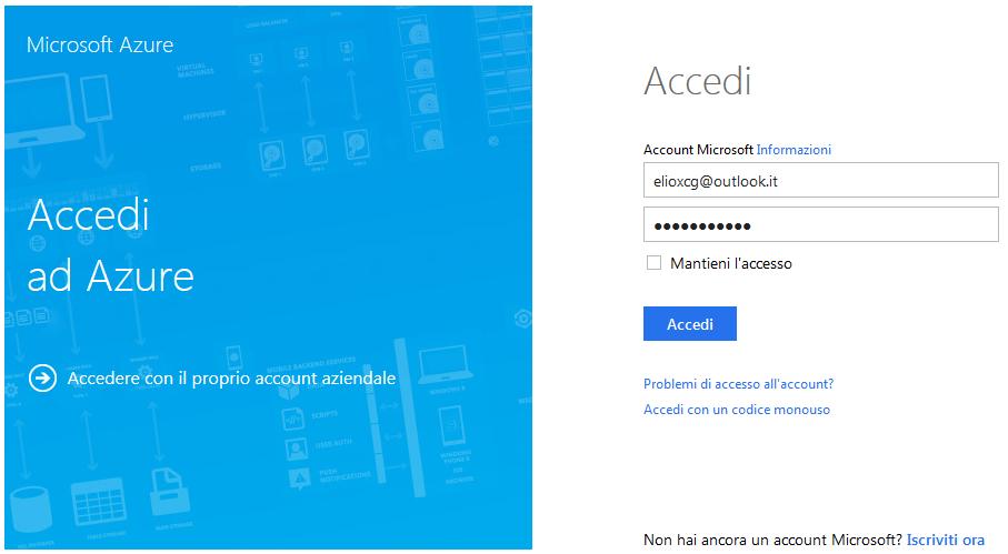 Autenticazione tramite Microsoft Account