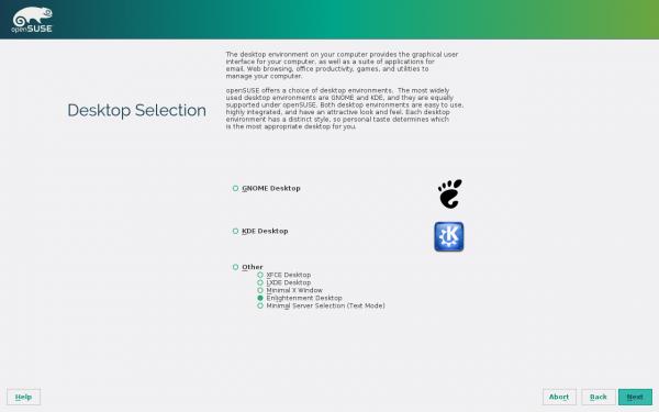 Selezione del desktop environment in fase di installazione