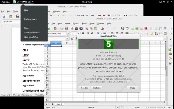 LibreOffice 5 su openSUSE 42.1