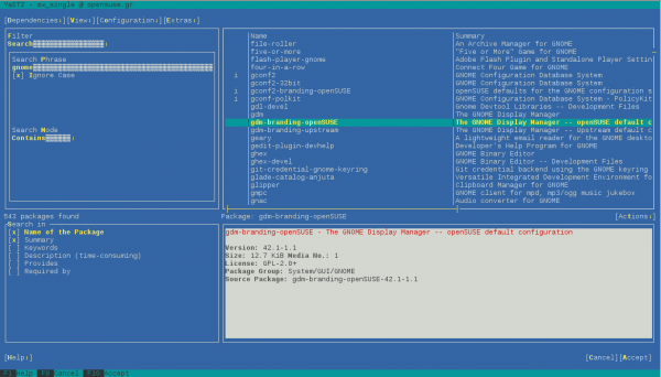 L'interfaccia testuale di YaST su openSUSE 42.1