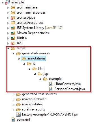 Cartella target per la generazione mediante annotazione dei codici sorgente