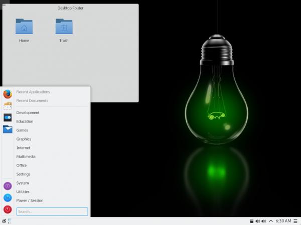 Il desktop di KDE Plasma 5.4 su openSUSE 42.1