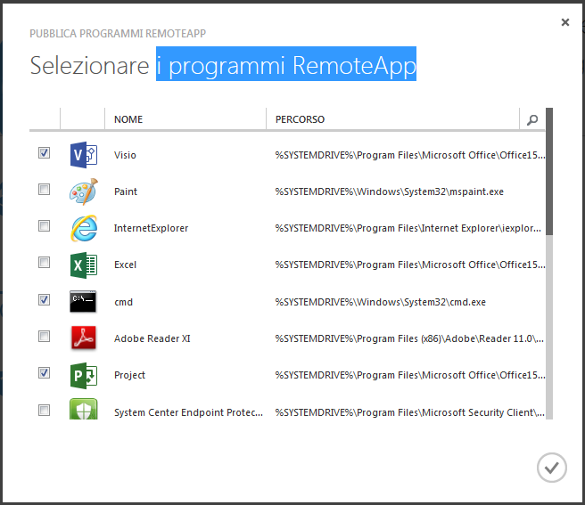 Selezione dei programmi in RemoteApp