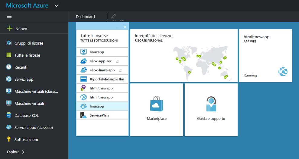 Interfaccia per la gestione di Azure