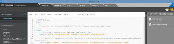 Ambiente di lavoro di Intel XDK