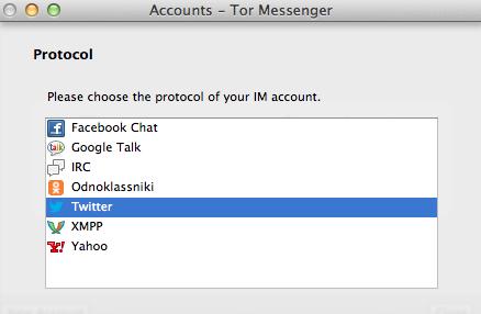 Protocolli supportati da Tor Messenger