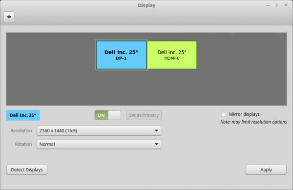 La schermata di gestione dei monitor multipli su Linux Mint 17.3 Cinnamon