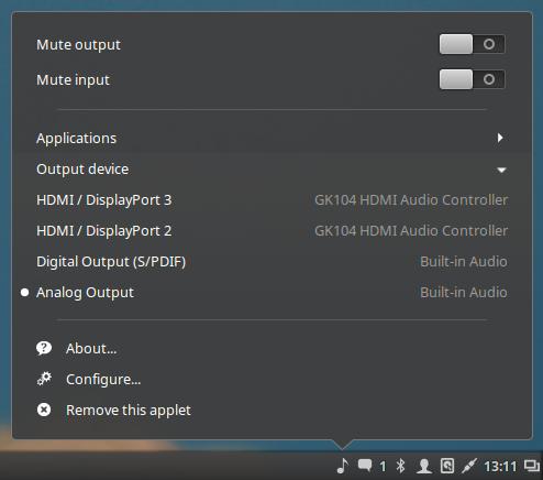 Le opzioni dell'applet audio su Cinnamon 2.8