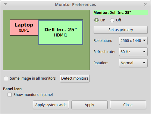 La schermata delle preferenze dei monitor su Linux Mint 17.3 MATE