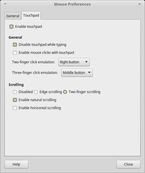 La schermata delle preferenze del mouse su Linux Mint 17.3 MATE