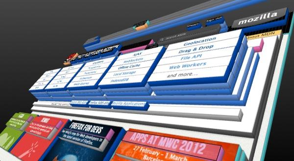 La visualizzazione 3D di Firefox