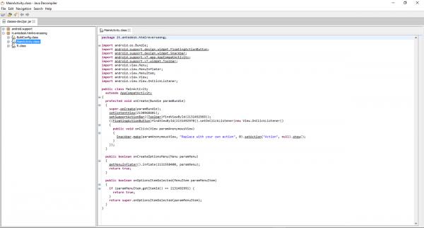 I sorgenti dell'APK decompilato, visualizzati tramite JD