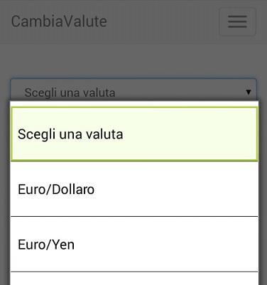 Scelta della valuta tramite menu