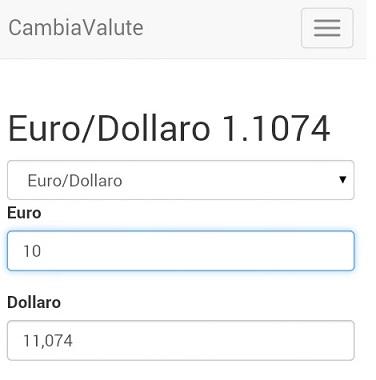 Interfaccia di conversione delle valute