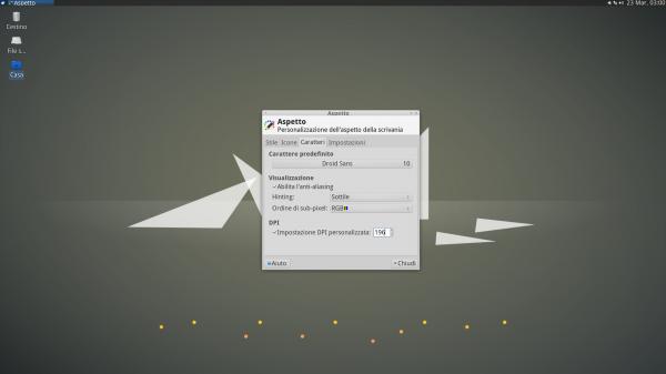 Impostazione dei DPI per i caratteri in Xfce 4.12