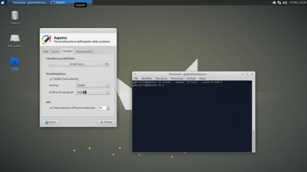 Effetto del fattore di scala applicato mediante xrandr su Xfce