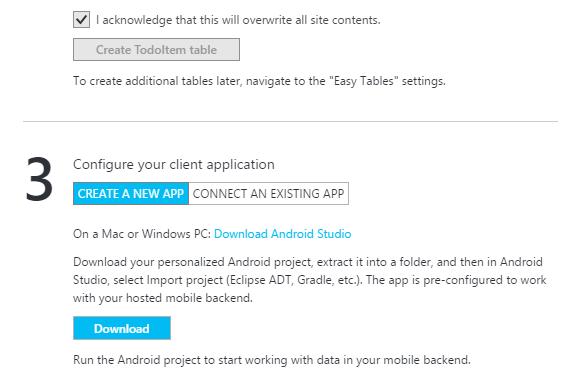 Configurazione della client application