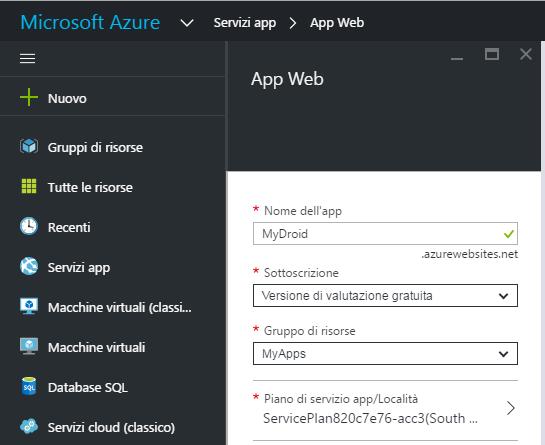 Creare una Mobile App con Servizi App
