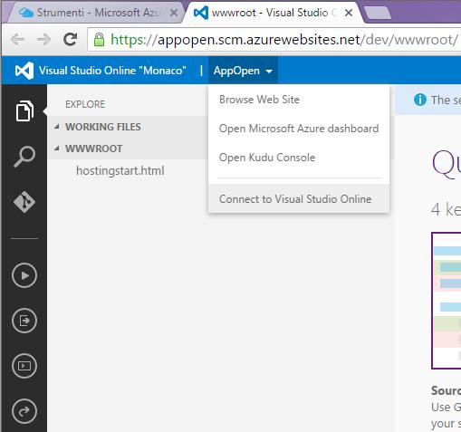 Connessione della Web App a Visual Studio Online